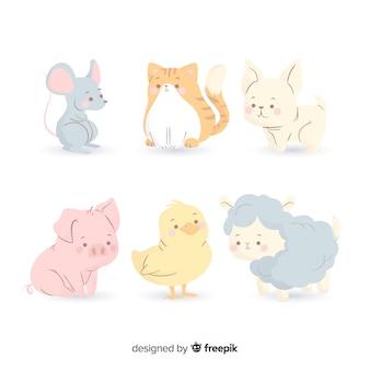 Ręcznie rysowane kolorowe zwierzęta