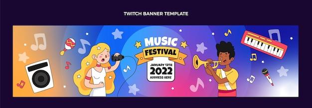 Ręcznie rysowane kolorowy baner festiwalu muzycznego