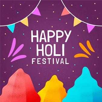 Ręcznie rysowane kolorowy festiwal holi