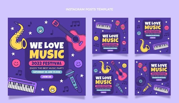 Ręcznie rysowane kolorowy festiwal muzyczny ig post