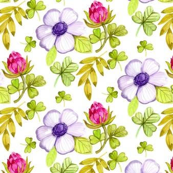 Ręcznie rysowane kolorowy kwiatowy wzór