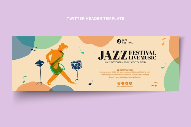 Ręcznie rysowane kolorowy nagłówek festiwalu muzycznego na twitterze