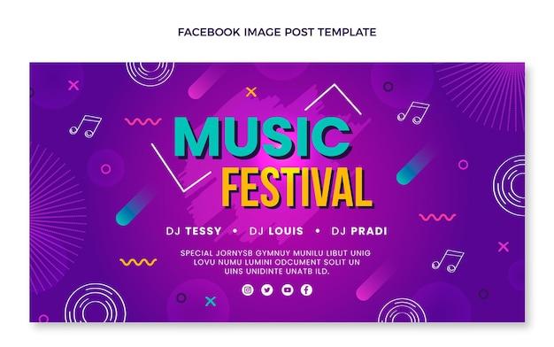 Ręcznie rysowane kolorowy post na facebooku z festiwalu muzycznego