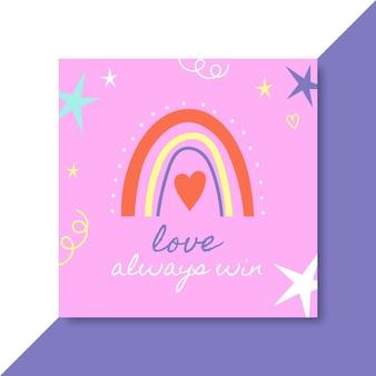Ręcznie rysowane kolorowy post na instagramie z miłością