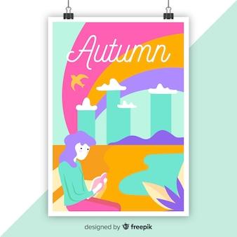 Ręcznie rysowane kolorowy sezonowy plakat
