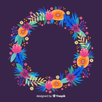 Ręcznie rysowane kolorowy wieniec kwiatowy