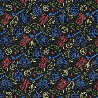 Ręcznie rysowane kolorowy wzór karnawału na ciemnym tle