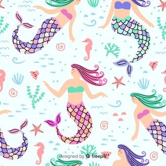 Ręcznie rysowane kolorowy wzór syrenki
