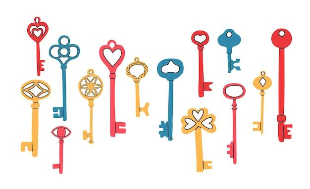 Ręcznie rysowane kolorowy zestaw różnych kluczy