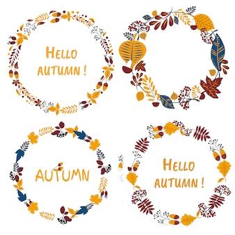 Ręcznie rysowane kolorowy zestaw wieńców z napisem hello autumn