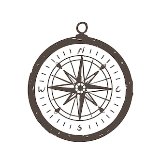 Ręcznie rysowane kompas magnetyczny z czarnymi liniami konturu