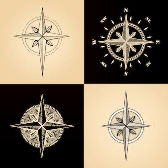 Ręcznie rysowane kompas róża wiatrów