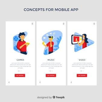 Ręcznie rysowane koncepcja aplikacji mobilnej