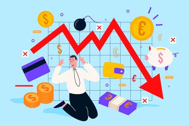 Ręcznie rysowane koncepcja bankructwa