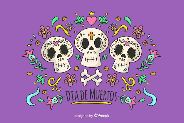 Ręcznie rysowane koncepcja dia de muertos