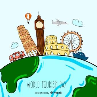 Ręcznie rysowane koncepcja dnia turystyki świata