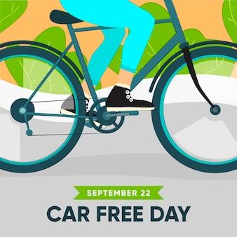 Ręcznie rysowane koncepcja dzień bez samochodu świata