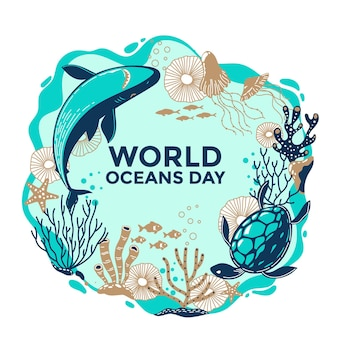 Ręcznie rysowane koncepcja dzień oceanów świata