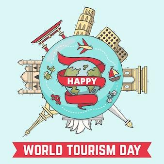 Ręcznie rysowane koncepcja dzień turystyki