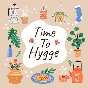 Ręcznie rysowane koncepcja hygge z elementami