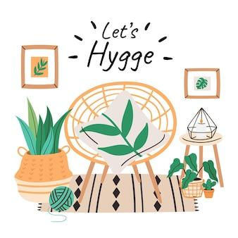 Ręcznie rysowane koncepcja hygge