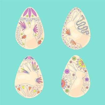 Ręcznie rysowane koncepcja kolekcji jaj wielkanocnych