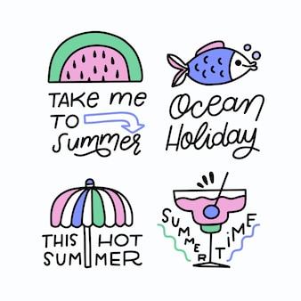 Ręcznie rysowane koncepcja lato etykiety
