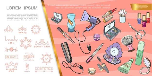 Ręcznie rysowane koncepcja makijażu z kosmetykami akcesoria do manicure prostownica do włosów i sklep kosmetyczny herby ilustracja