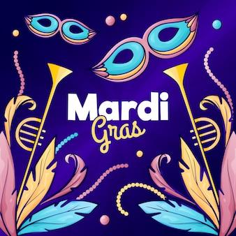 Ręcznie rysowane koncepcja mardi gras