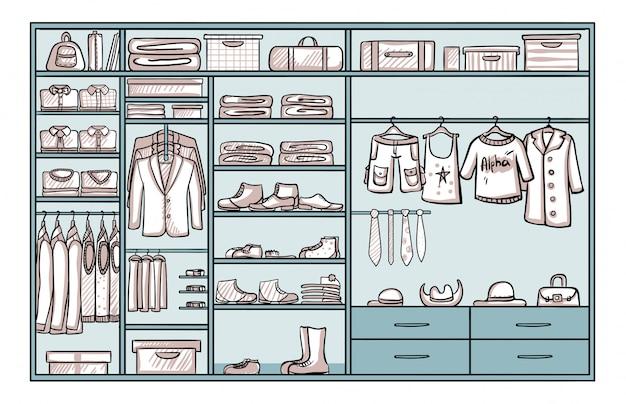 Ręcznie rysowane koncepcja męskiej garderoby