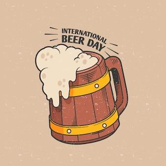 Ręcznie rysowane koncepcja międzynarodowego dnia piwa