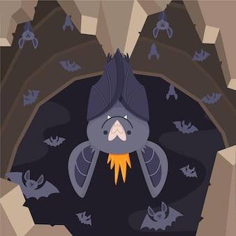 Ręcznie rysowane koncepcja nietoperza halloween