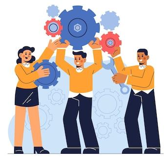 Ręcznie rysowane koncepcja pracy zespołowej w płaskiej konstrukcji