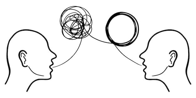 Ręcznie rysowane koncepcja psychoterapii głowy sylwetka dwóch ludzi. element projektu . ilustracji wektorowych.