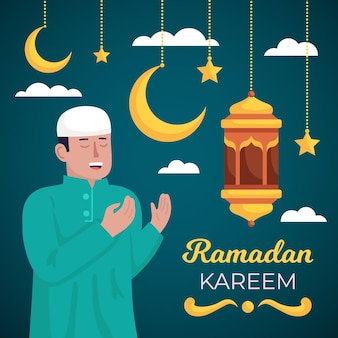 Ręcznie rysowane koncepcja ramadanu zilustrowana