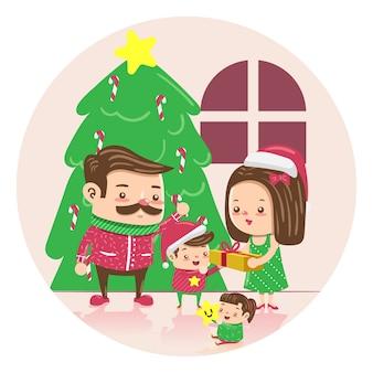 Ręcznie rysowane koncepcja rodzinna scena boże narodzenie