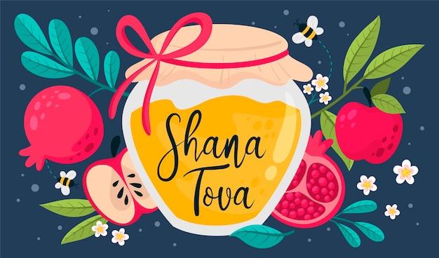 Ręcznie rysowane koncepcja shana tova