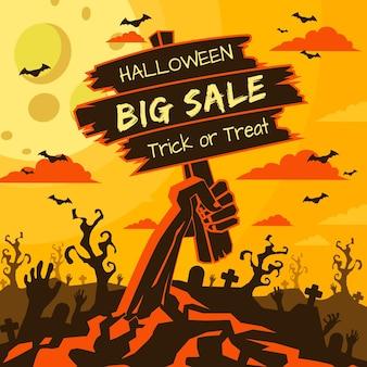 Ręcznie rysowane koncepcja sprzedaży halloween