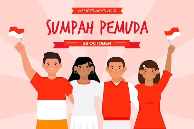 Ręcznie rysowane koncepcja sumpah pemuda