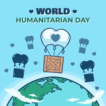 Ręcznie rysowane koncepcja światowego dnia humanitarnego
