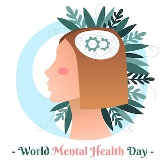 Ręcznie rysowane koncepcja światowego dnia zdrowia psychicznego