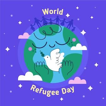 Ręcznie rysowane koncepcja światowy dzień uchodźcy