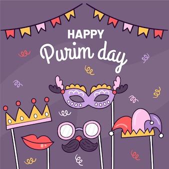 Ręcznie rysowane koncepcja szczęśliwy dzień purim