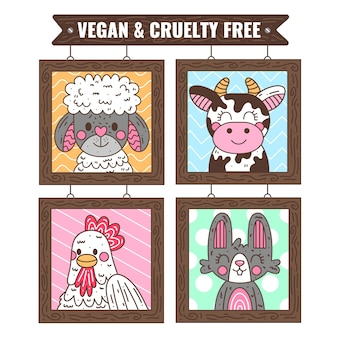 Ręcznie rysowane koncepcja wolna od okrucieństwa i wegańska