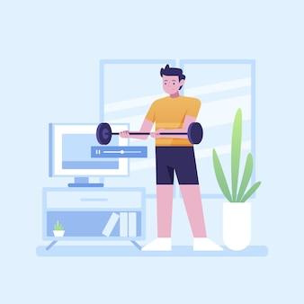 Ręcznie rysowane koncepcja zajęć sportowych online zilustrowana