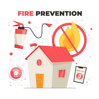 Ręcznie rysowane koncepcja zapobiegania pożarom w płaskiej konstrukcji