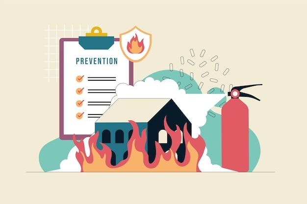 Ręcznie rysowane koncepcja zapobiegania pożarom