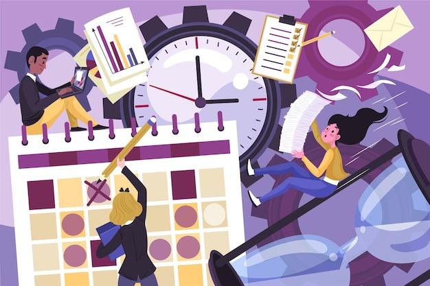 Ręcznie rysowane koncepcja zarządzania czasem