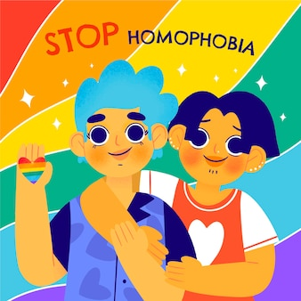 Ręcznie rysowane koncepcja zatrzymania homofobii