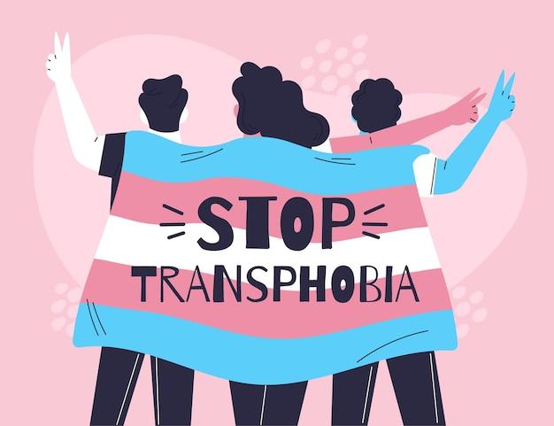 Ręcznie rysowane koncepcja zatrzymania transfobii w płaskiej konstrukcji